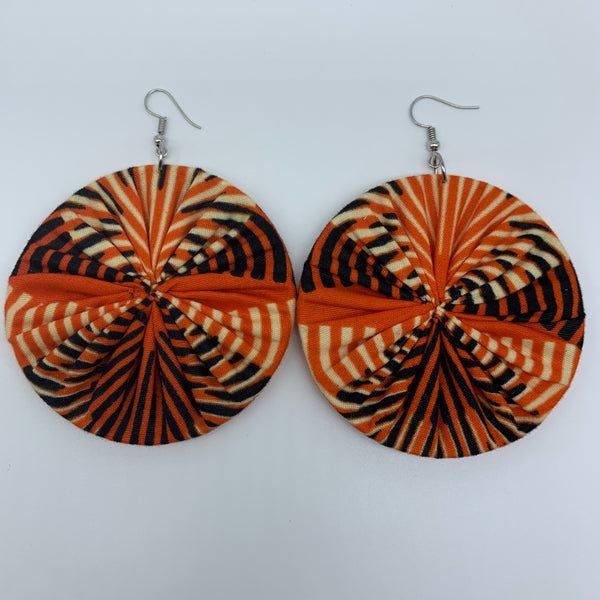 African Print Earrings-Round L Orange Variation 2 - Lillon Boutique