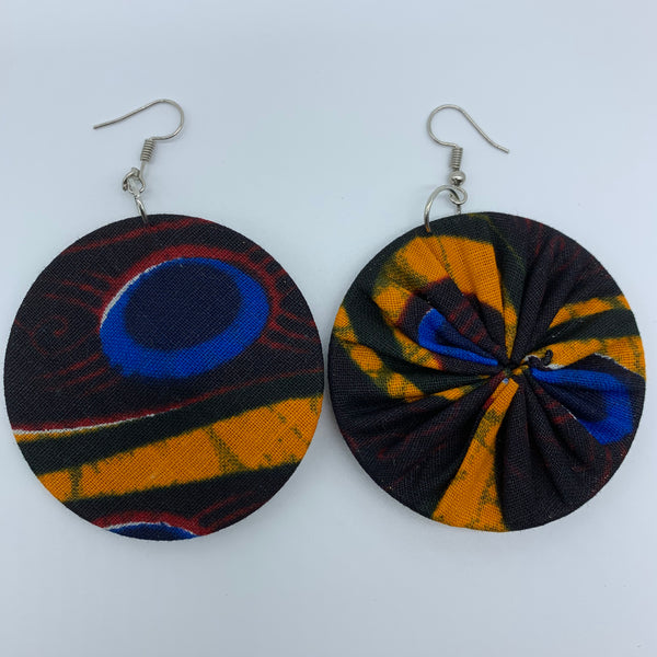 African Print Earrings-Round M Black Variation 2 - Lillon Boutique