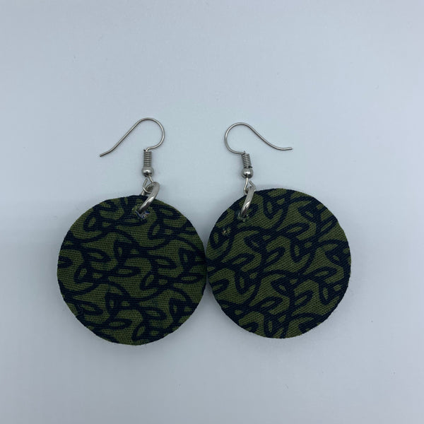 African Print Earrings-Round XS Green Variation 2 - Lillon Boutique