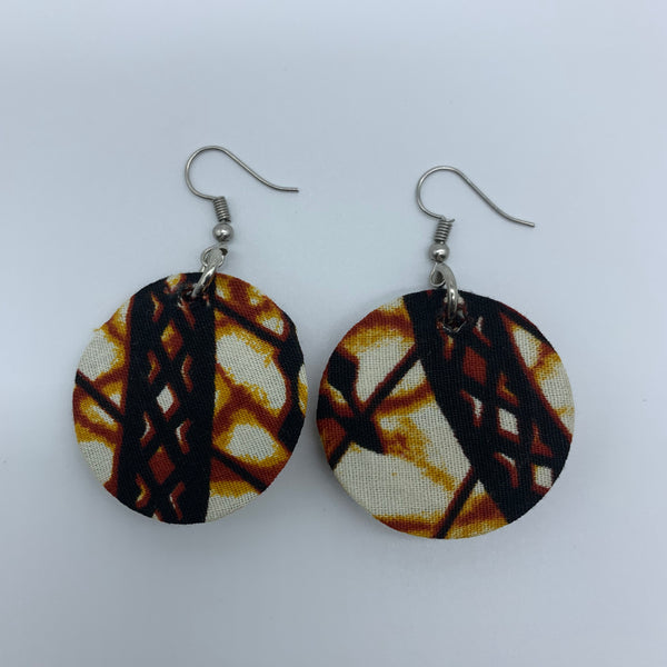 African Print Earrings-Round XS Brown Variation 10