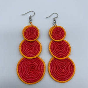 Sisal Earrings- 3C Red Variation 2 - Lillon Boutique