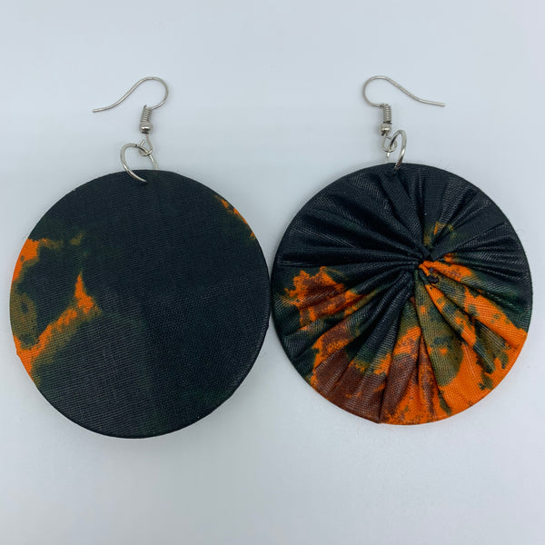 African Print Earrings-Round M Green Variation 3 - Lillon Boutique