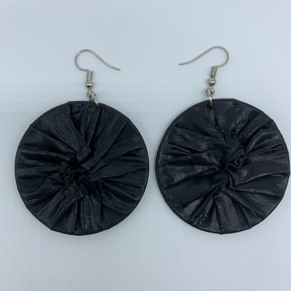 African Print Earrings-Round S Black Variation 5 - Lillon Boutique