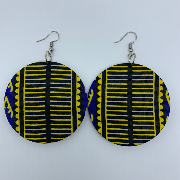 African Print Earrings-Round M Blue Variation 7 - Lillon Boutique