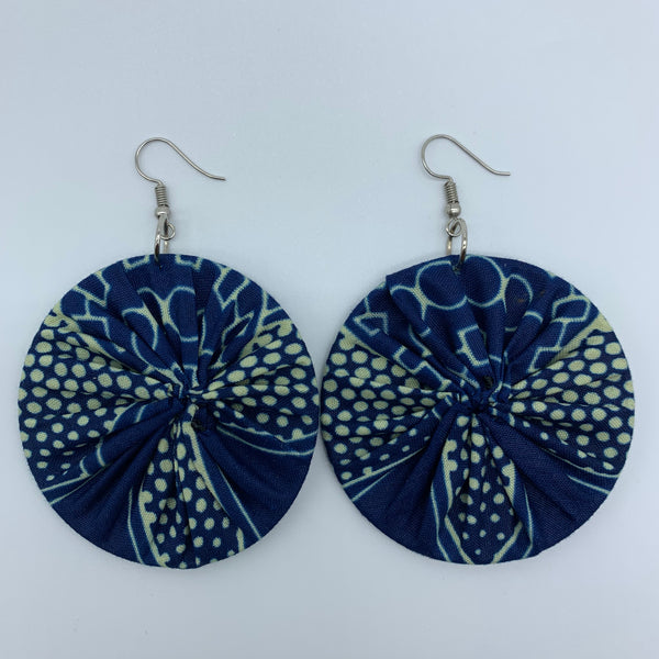 African Print Earrings-Round M Blue Variation 10 - Lillon Boutique