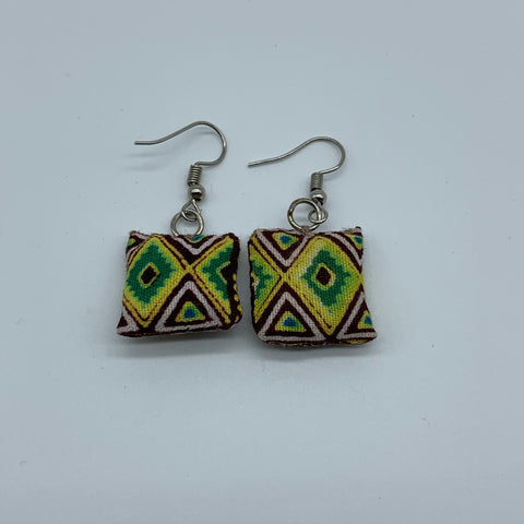 African Print Earrings-Mini Pillow Yellow Variation - Lillon Boutique