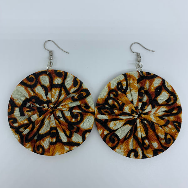 African Print Earrings-Round M Brown Variation 2 - Lillon Boutique
