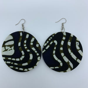 African Print Earrings-Round M Black Variation 4 - Lillon Boutique