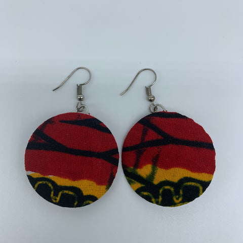 African Print Earrings-Round XS Red Variation 6
