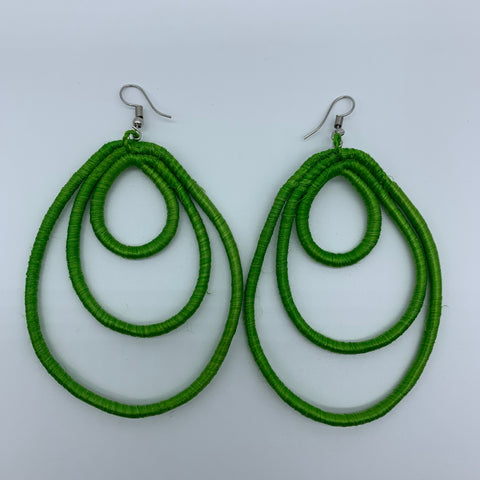 Sisal Earrings- NC L Green Variation 2 - Lillon Boutique