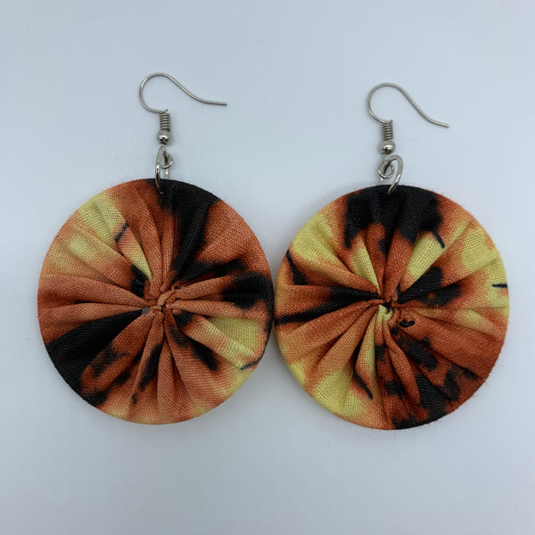 African Print Earrings-Round S Brown Variation 6 - Lillon Boutique