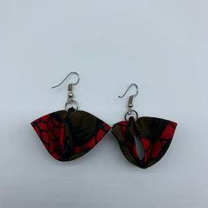 African Print Earrings-Folded Red Variation
