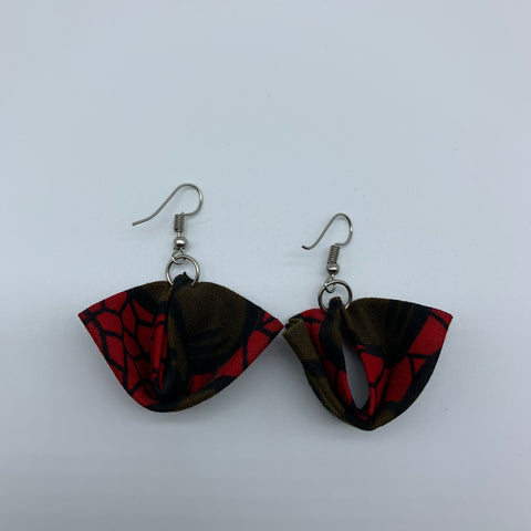 African Print Earrings-Folded Red Variation - Lillon Boutique