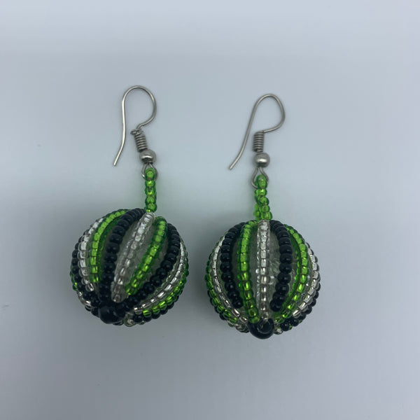 Beaded Earrings-Marble Green Variation - Lillon Boutique