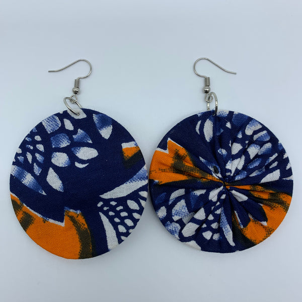 African Print Earrings-Round M Blue Variation 13 - Lillon Boutique