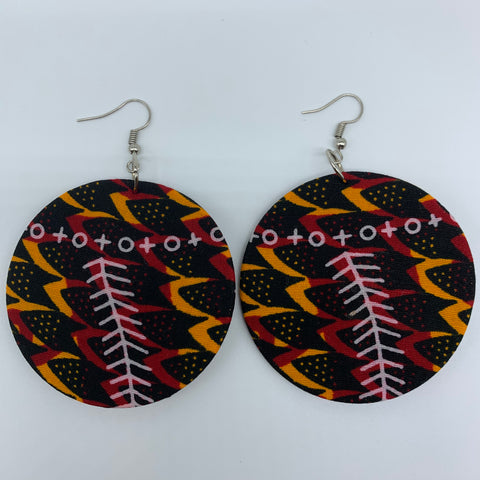 African Print Earrings-Round M Black Variation 7