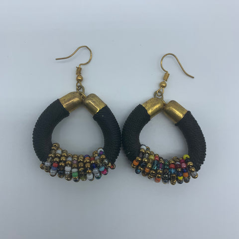 Thread Earrings W/Beads-Black Variation - Lillon Boutique