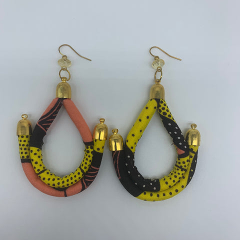 African Print Earrings-Anchor Yellow Variation - Lillon Boutique