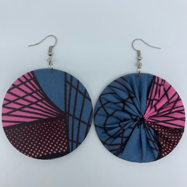 African Print Earrings-Round M Blue Variation 22