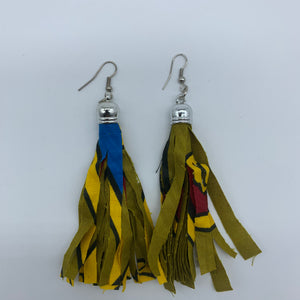 African Print Earrings-Tassel Green Variation 3