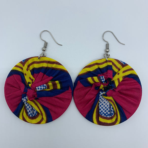 African Print Earrings-Round S Pink Variation - Lillon Boutique