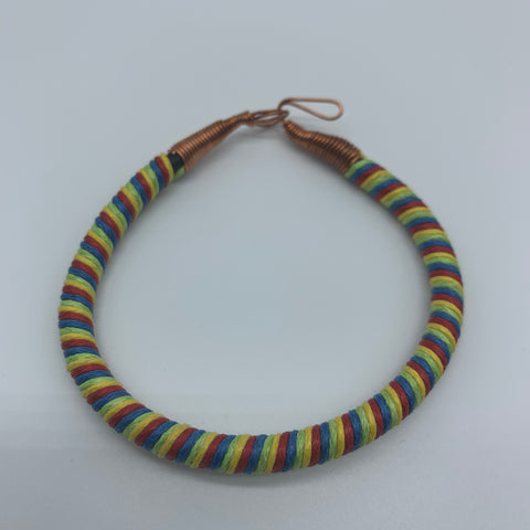 Thread W/Metal Wire Bracelet- Yellow Variation 3 - Lillon Boutique