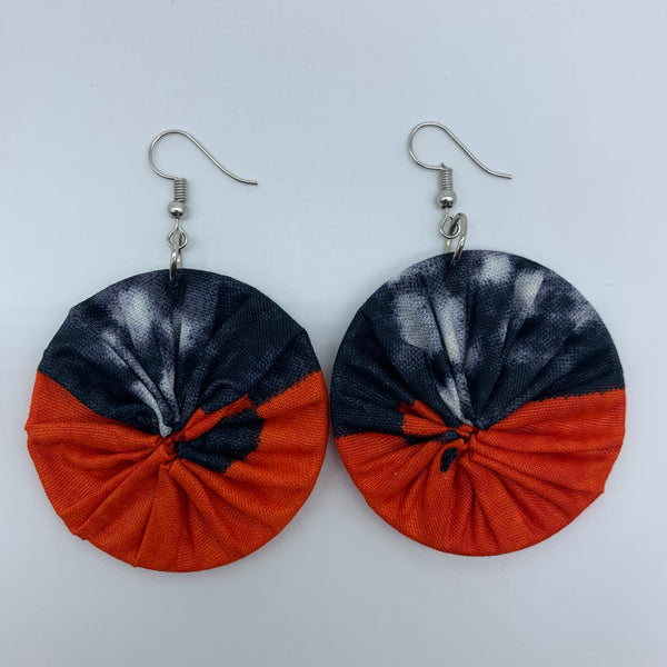 African Print Earrings-Round S Orange Variation 3 - Lillon Boutique