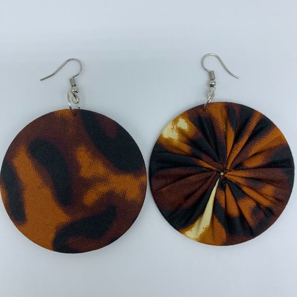 African Print Earrings-Round M Brown Variation 6 - Lillon Boutique