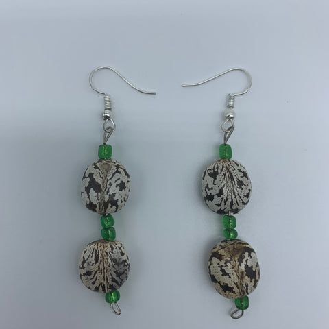 Seeds Earrings-White Variation with Green Beads