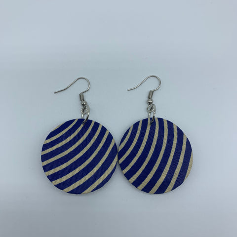 African Print Earrings-Round XS Blue Variation - Lillon Boutique