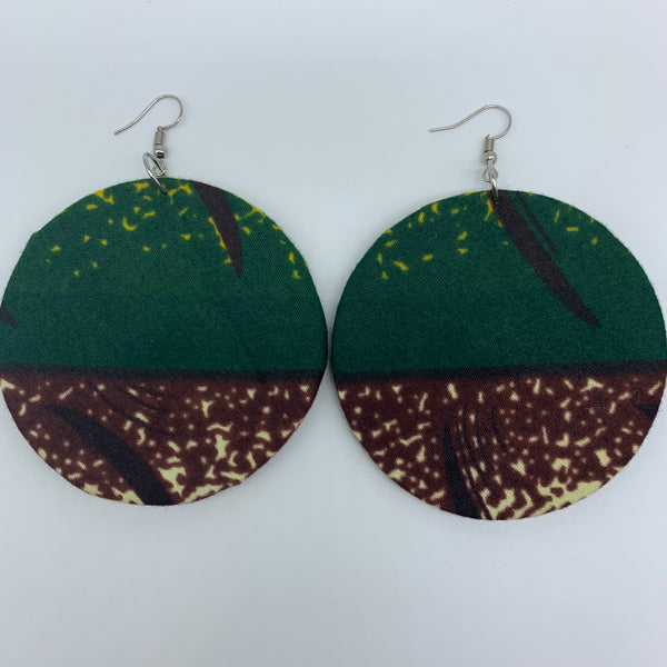 African Print Earrings-Round L Green Variation 2