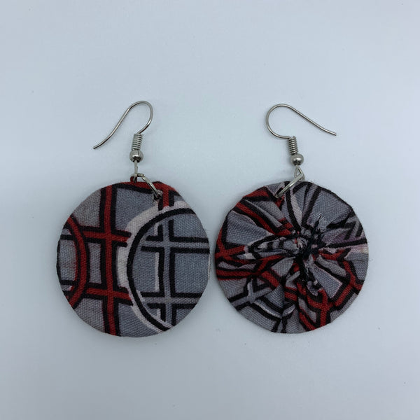 African Print Earrings-Round XS Grey Variation