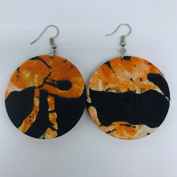 African Print Earrings-Round S Orange Variation 10 - Lillon Boutique