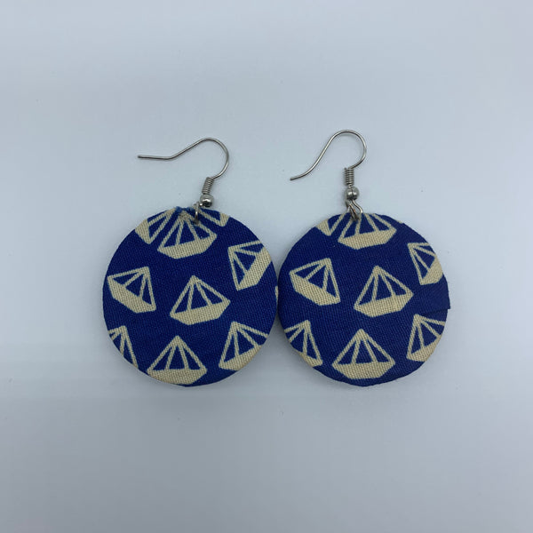 African Print Earrings-Round XS Blue Variation 2 - Lillon Boutique