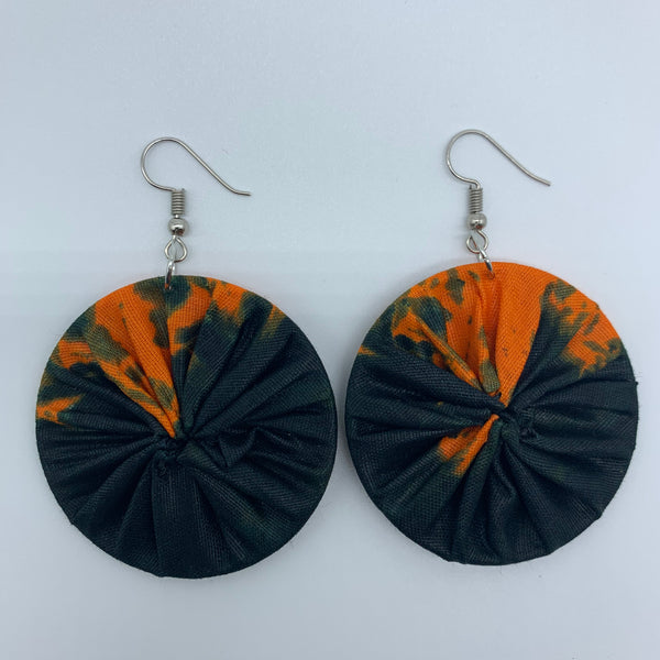 African Print Earrings-Round S Orange Variation 2 - Lillon Boutique