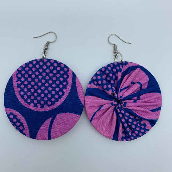 African Print Earrings-Round M Pink Variation 3 - Lillon Boutique