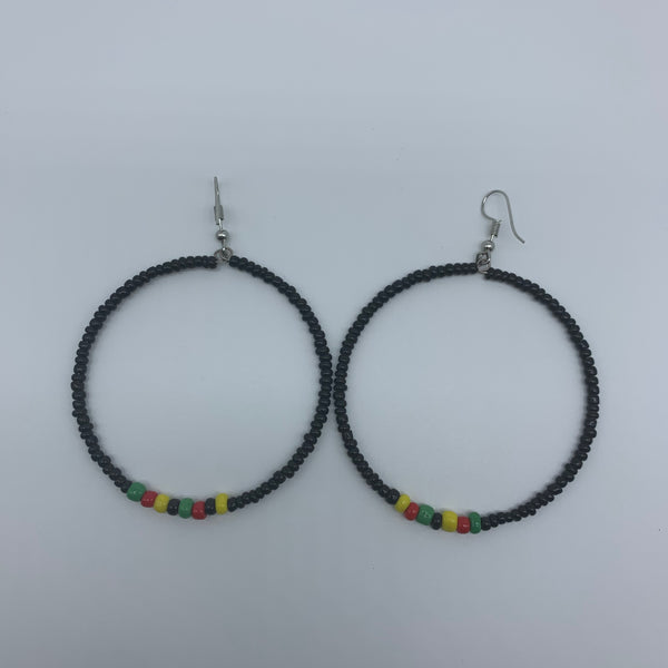 Beaded Earrings-Hoop Black Variation - Lillon Boutique