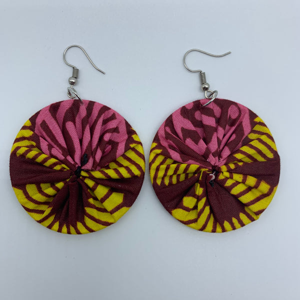African Print Earrings-Round S Yellow Variation 2 - Lillon Boutique