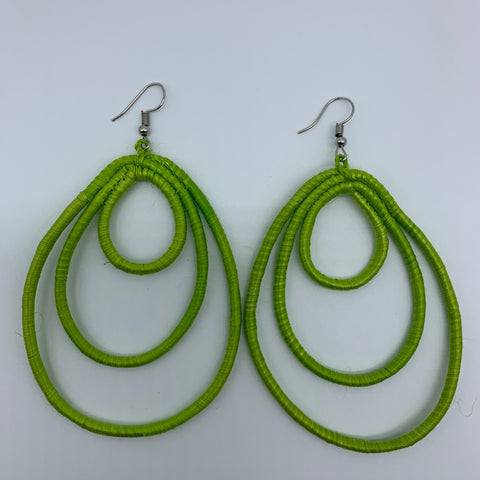 Sisal Earrings- NC L Green Variation - Lillon Boutique