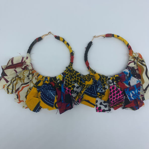 African Print Earrings-Zoba Zoba Hoops Red Variation 2 - Lillon Boutique