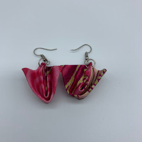 African Print Earrings-Folded Pink Variation 5