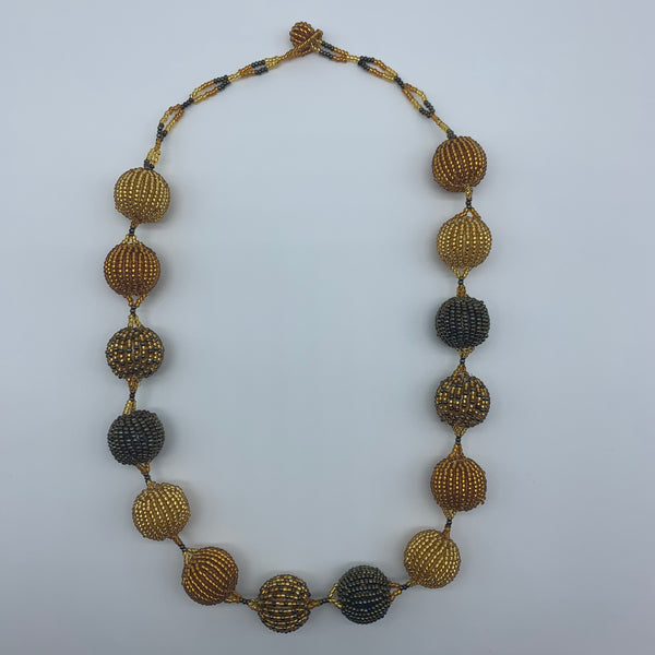 Beaded Necklace-Spaced Marble Gold Variation - Lillon Boutique