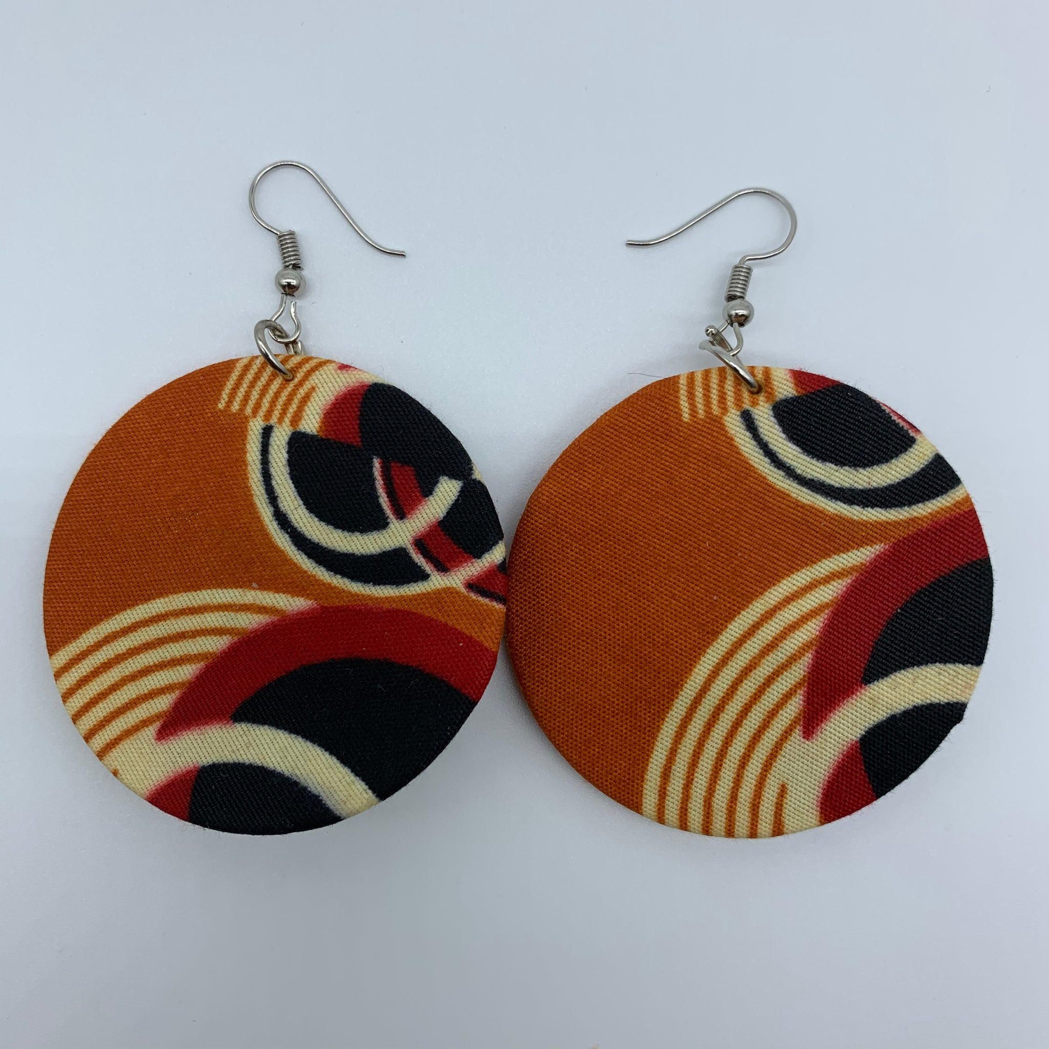 African Print Earrings-Round S Orange Variation 14 - Lillon Boutique