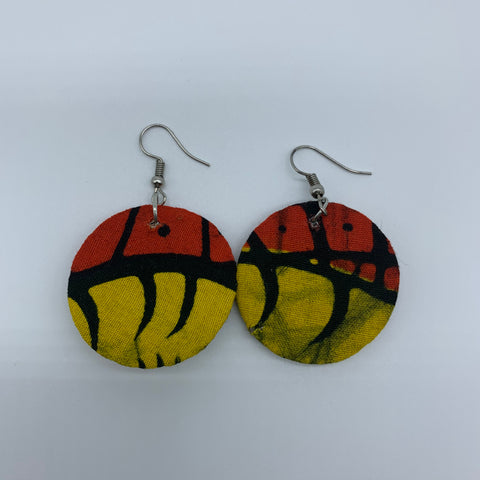 African Print Earrings-Round XS Yellow Variation 6 - Lillon Boutique