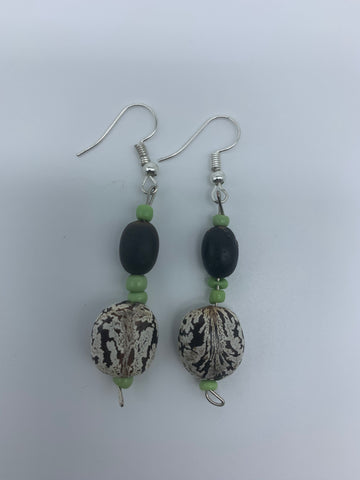 Seeds Earrings-White /Black Variation with Green Beads