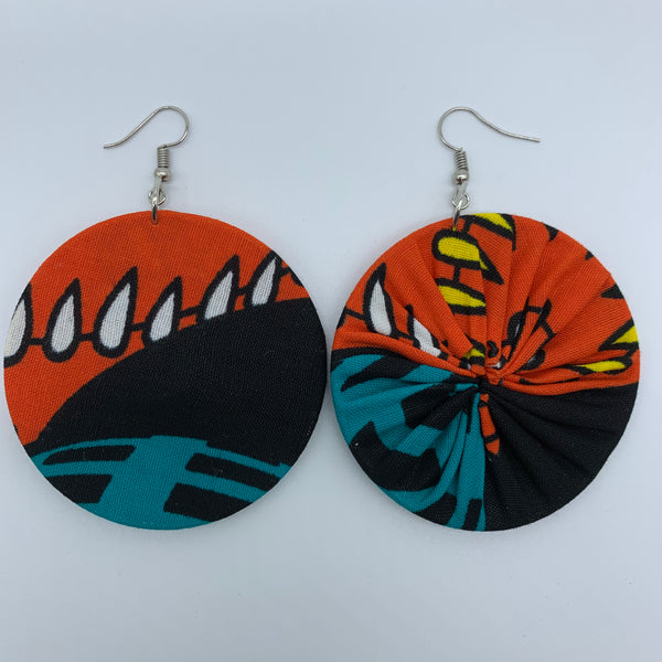 African Print Earrings-Round M Black Variation 3 - Lillon Boutique