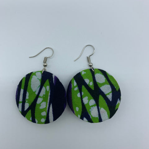 African Print Earrings-Round XS Green Variation - Lillon Boutique