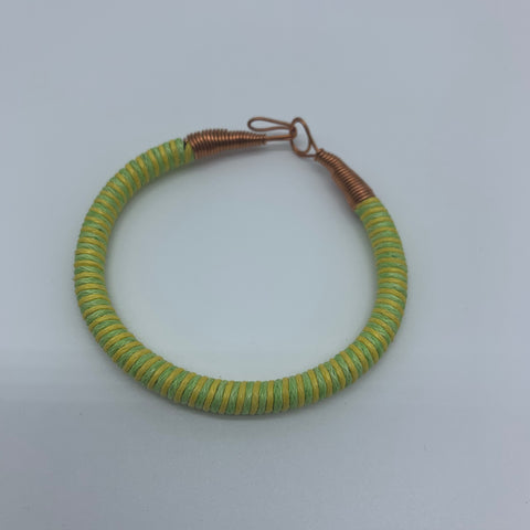 Thread W/Metal Wire Bracelet- Yellow Variation 2 - Lillon Boutique