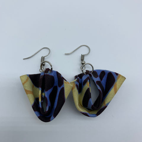 African Print Earrings-Folded Brown Variation