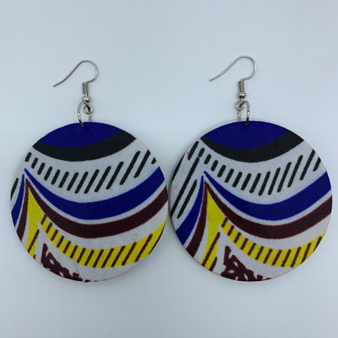 African Print Earrings-Round M Blue Variation - Lillon Boutique